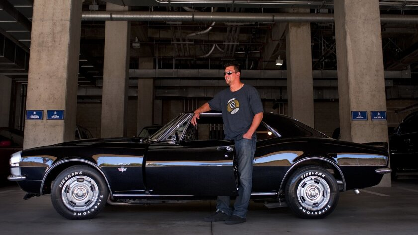 """Padres relief pitcher Luke Gregerson shows up for a game at Petco Park in his 1967 Camaro. """"That,"""" says teammate Nick Hundley, """"is a pretty car."""""""
