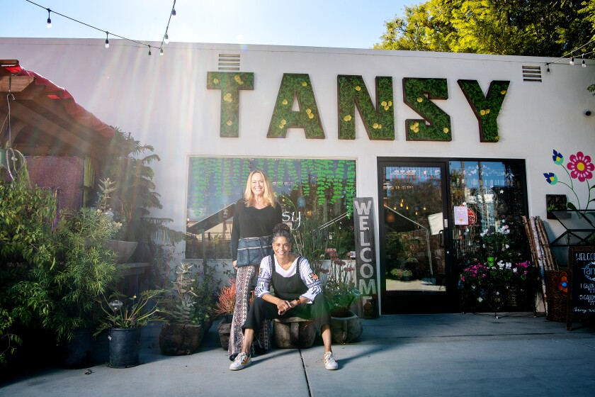 Colette Fowler, left, and Shawna Christian at their plant shop Tansy.