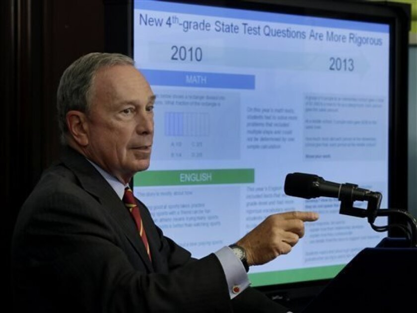 New York Mayor Michael Bloomberg, talks about standardized test scores during a news conference, in New York, Wednesday, Aug. 7, 2013. Less than a third of New York students in grades three through eight scored well enough on statewide tests to be considered proficient in math and English last spring. New York is only the second state, after Kentucky, to test students based on the more rigorous Common Core learning standards adopted by most states as a way to improve student readiness for colle