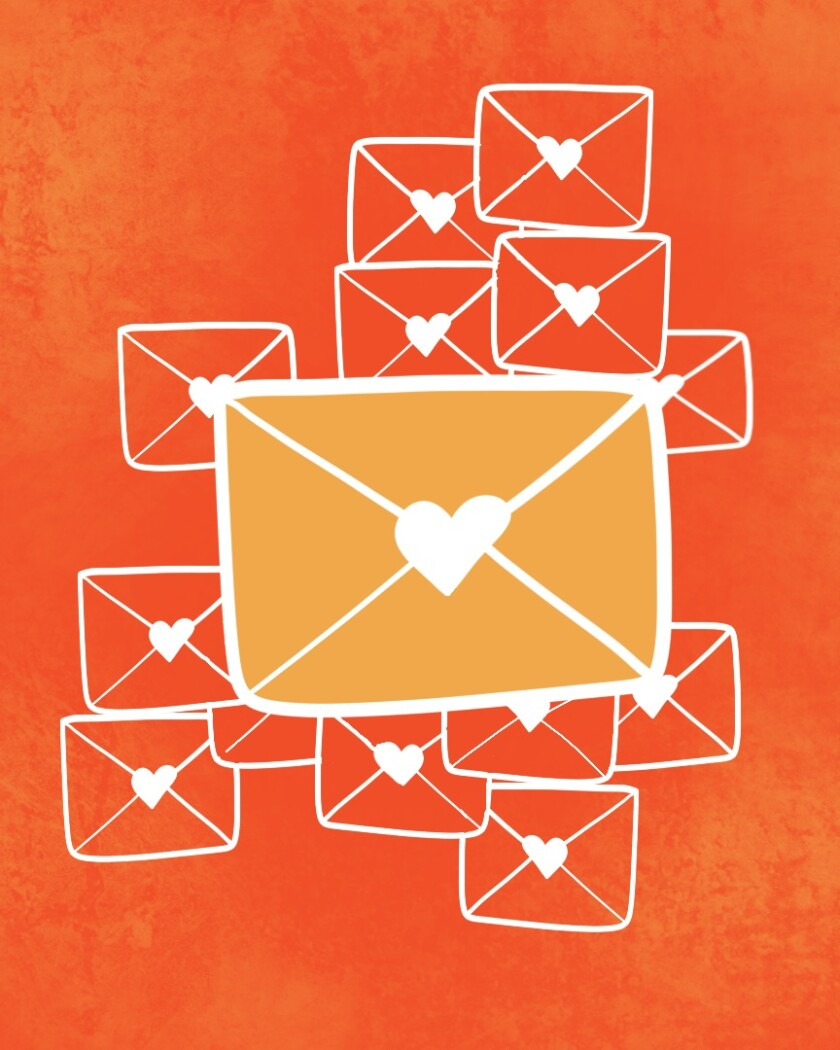 illustration of love letters in envelopes sealed with a heart.