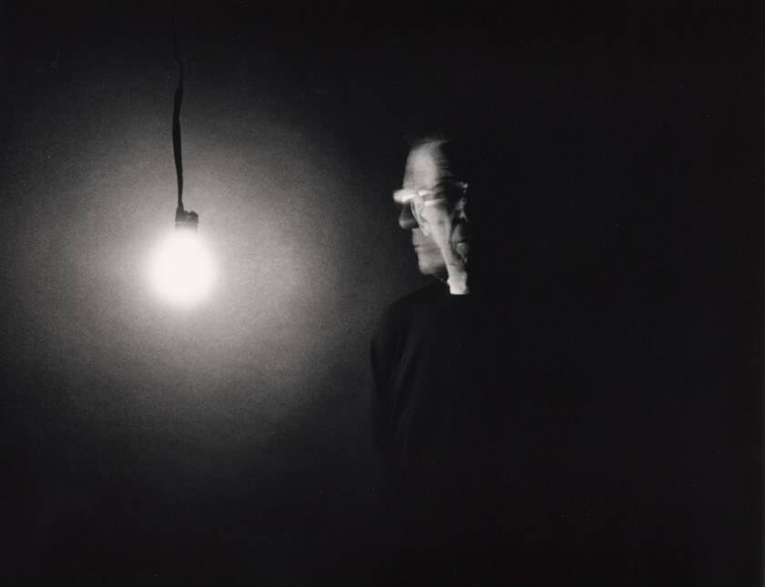 """Leonard Nimoy's """"Self-Portrait With Bulb"""" from 2003. The actor, who died Friday, focused on art-photography in the 2000s, a late chapter in a varied arts career."""