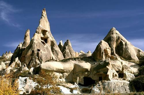 A popular attraction in central Turkey, Cappadocia is known for the fairy-tale-like rock formations that bespeckle the region. Called fairy chimneys, or hoodoos, these formations have been carved by erosion over the millennia. Fairy chimneys can be found in other parts of the world such as Bryce Canyon in Utah or Badlands National Monument in South Dakota, but Cappadocia's early inhabitants turned them into an extensive network of homes and churches.