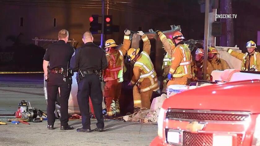 Escena del accidente automovilístico en Arcadia.