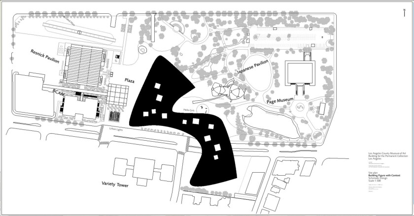 032315 -- Peter Zumthor's proposed redesign for LACMA, site plan. Credit: ©Atelier Peter Zumthor&Par