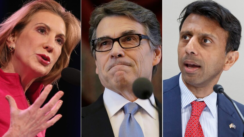 Former Hewlett-Packard Chief Executive Carly Fiorina, Texas Gov. Rick Perry, and Louisiana Gov. Bobby Jindal.