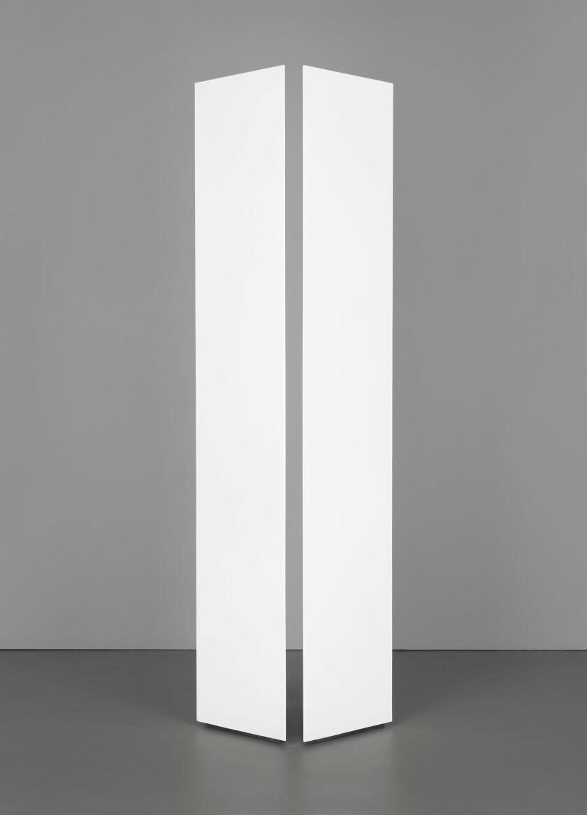 Mary Corse, Untitled (Two Triangular Columns), 1965, acrylic on wood and plexiglass.jpg