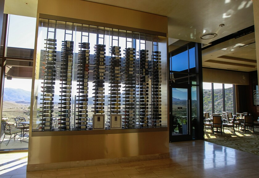 Jamul Casino's Prime Cut steakhouse, brimming with natural light, has a wine wall that displays its impressive collection.