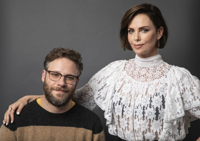 BEVERLY HILLS, CA-APRIL 12, 2019: Seth Rogen and Charlize Theron, stars of the theatrical release,
