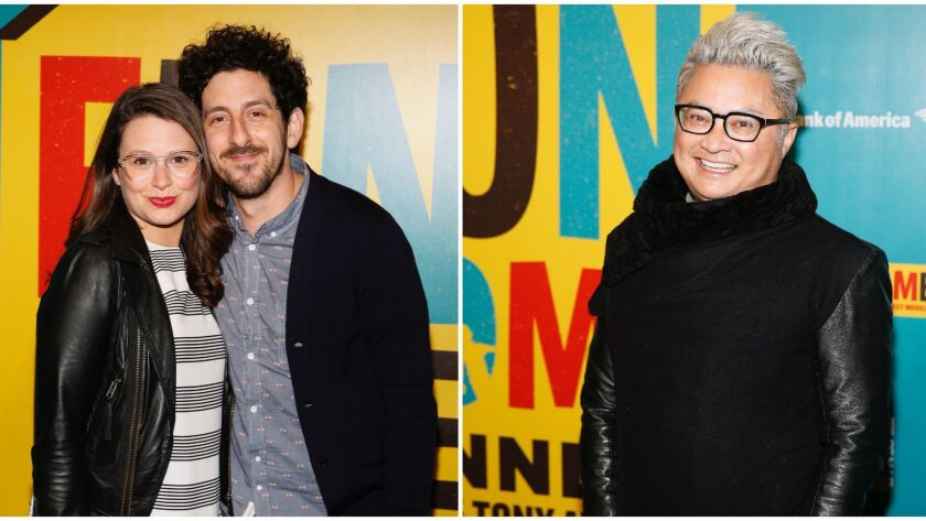 Katie Lowes, left, and Adam Shapiro and, right, Alec Mapa.