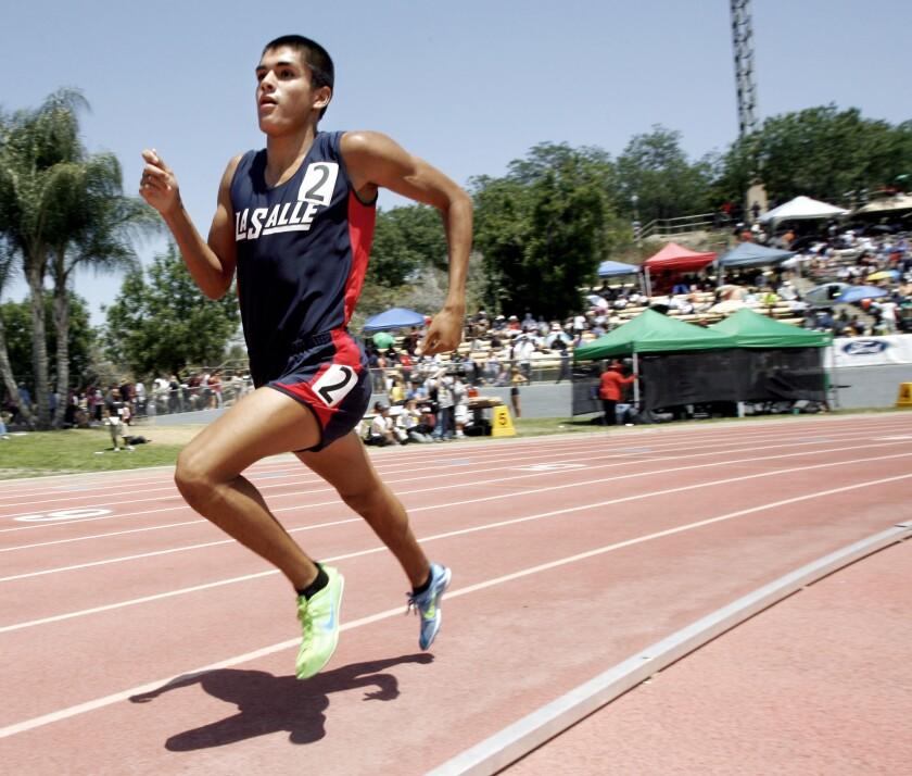 La Salle's Daniel De La Torre runs at Mt. San Antonio College on May 19, 2012.