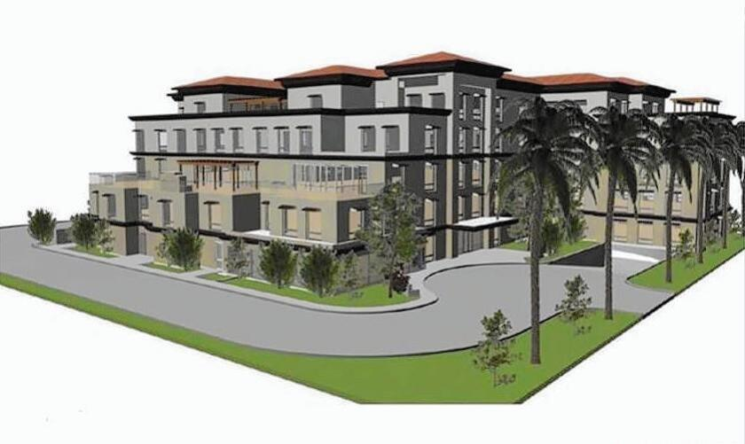 A proposal by CenterPointe Senior Living includes demolishing Kitayama, a sushi restaurant at 101 Bayview Place in Newport Beach, to make way for Harbor Pointe Senior Living. The five-story facility, shown in this rendering, would include 128 units.