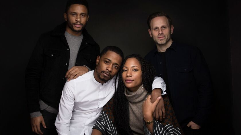 "Actor Nnamdi Asomugha, from left, Lakeith Stanfield, Natalie Paul and writer/director Matt Ruskin from the film, ""Crown Heights"", at the Sundance Film Festival on Jan. 23, 2017, in Park City, Utah."