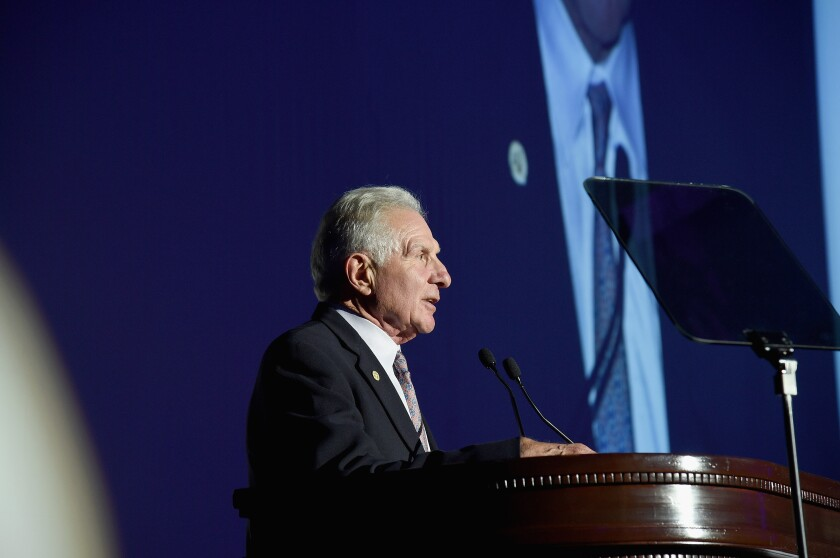 Nick Buoniconti speaks onstage during the 30th Annual Great Sports Legends Dinner to benefit The Buoniconti Fund to Cure Paralysis.