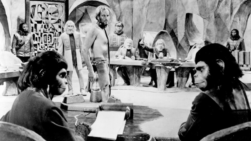 "A scene from the original movie ""Planet of the Apes"" from 20th Century Fox in 1968. Kim Hunter, left foreground, and Roddy McDowall, as chimpanzee scientists, defend Charlton Heston."