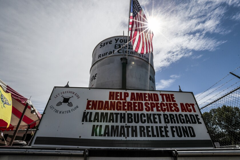 A display of the Klamath Bucket Brigade in Klamath Falls, Ore.