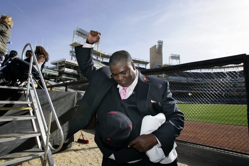 Former San Diego Padres player Tony Gwynn was voted into the Major League Baseball Hall of Fame on Tuesday, shown here at a news conference saluting his SDSU team at Petco Park  in San Diego,  California.