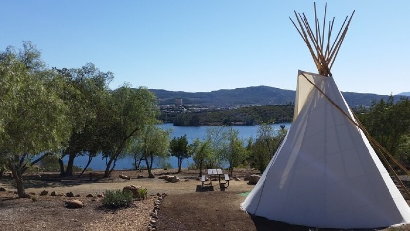 One of five teepees at Lake Jennings Park campground overlooking the lake.