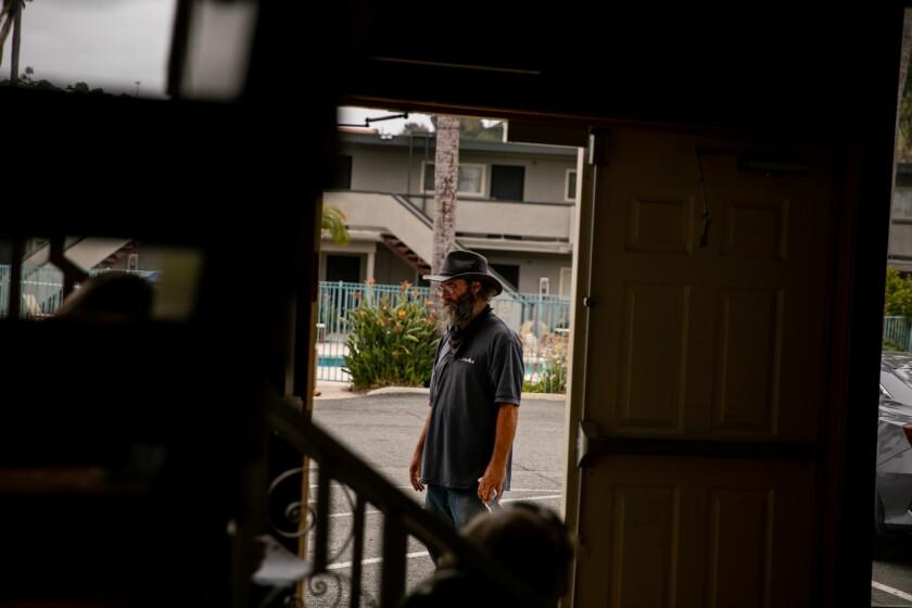 Rodney McGough arrives at Marty's Valley Inn in Oceanside on April 13.