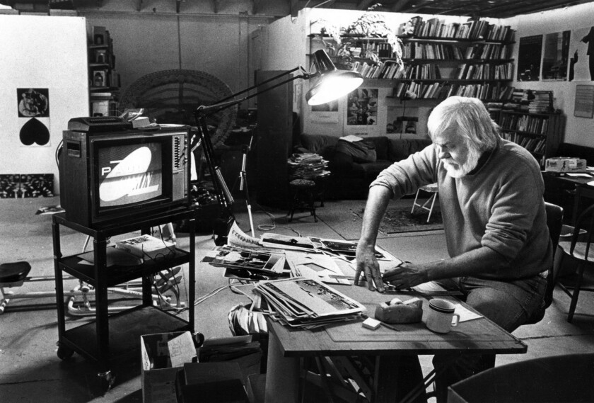 Artist John Baldessari working in his Santa Monica studio in 1986.