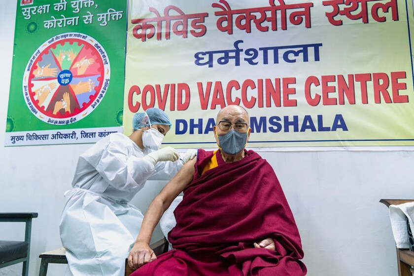 The Dalai Lama receives a COVID-19 vaccine