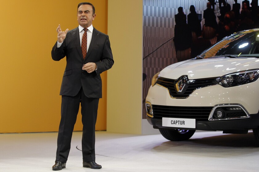 Renault-Nissan Chief Executive Carlos Ghosn presents the Renault Captur at the Geneva International Motor Show in 2013.