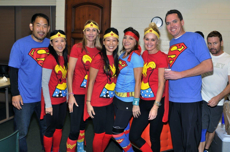 Two Super Men and Six Wonder Women