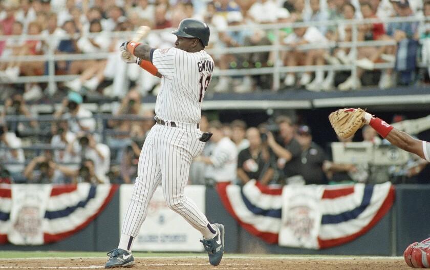 Tony Gwynn bats in the 1992 All-Star Game in San Diego.