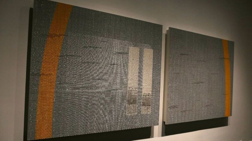 """Abdulnasser Gharem's stamp painting """"Pause"""" on view at LACMA."""