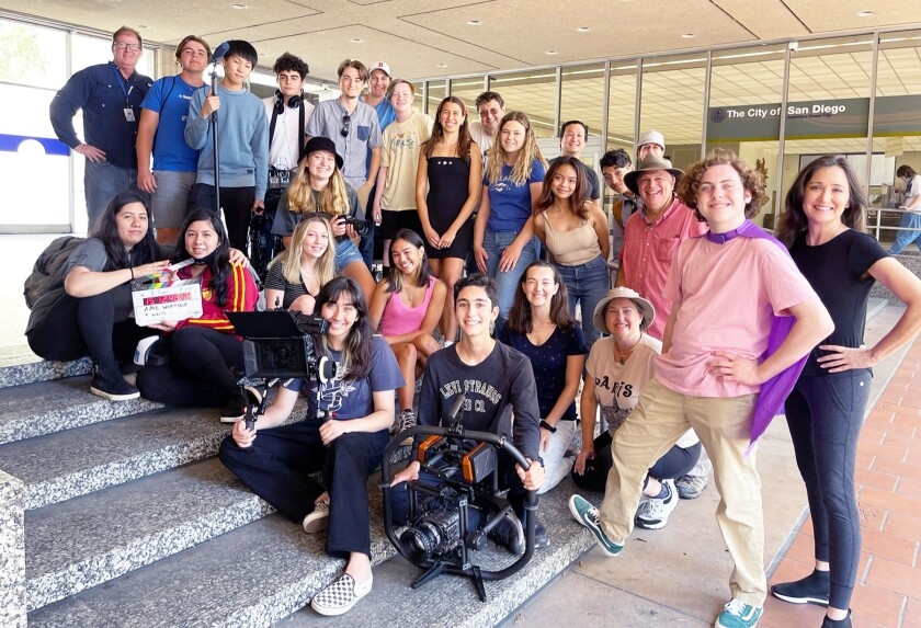 Poway Unified's AME Summer Cinema Workshop participants with mentors in downtown San Diego last Friday where they filmed.