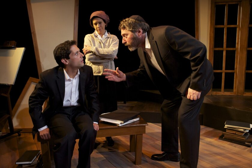 """Young artist Asher (Craig De Lorenzo, left) is at odds with his parents Rivkeh (Crystal Sershen, center) and Aryeh (David Ellenstein) in North Coast Repertory Theatre's """"My Name is Asher Lev."""""""
