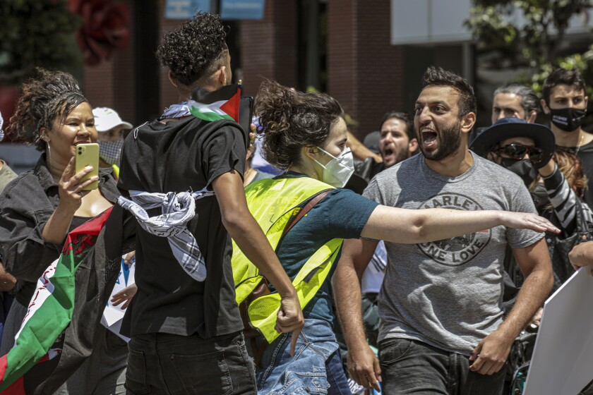 A person separates two people in a shouting match at a protest
