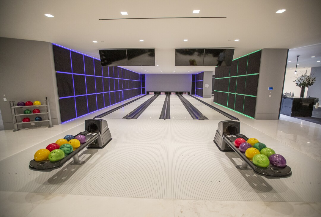A view of the four-lane bowling alley at The One.