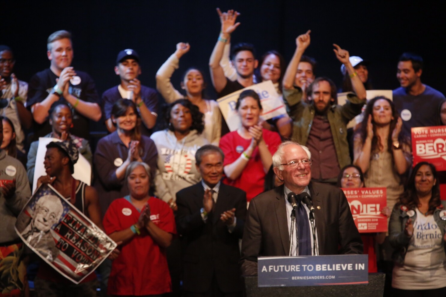 Naked girls at bernie sanders rally Topless Bernie Sanders Supporters Arrested Outside L A Rally Los Angeles Times