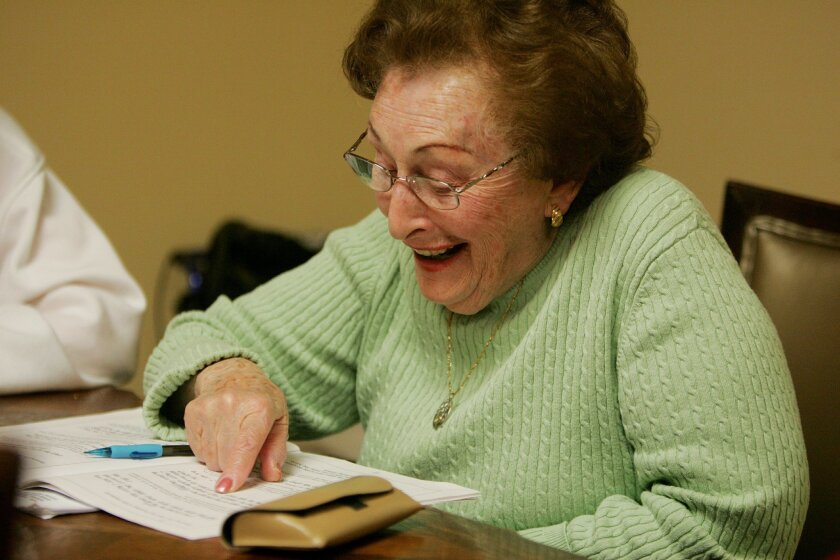 Irene Shelby, 87, reads Hebrew prayers on Monday at Seacrest Villiage Retirement Community in Poway, California. The class of women are learning to read Hebrew so they can have a Bat Mitzvah.