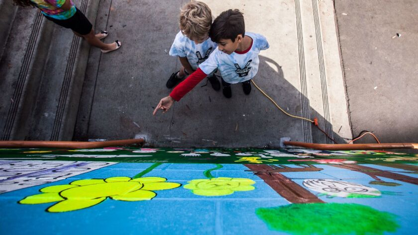WEST HOLLYWOOD, CA--NOVEMBER 17, 2017: Third graders Asher Levine, left, and Parsa Montazeri, both 9