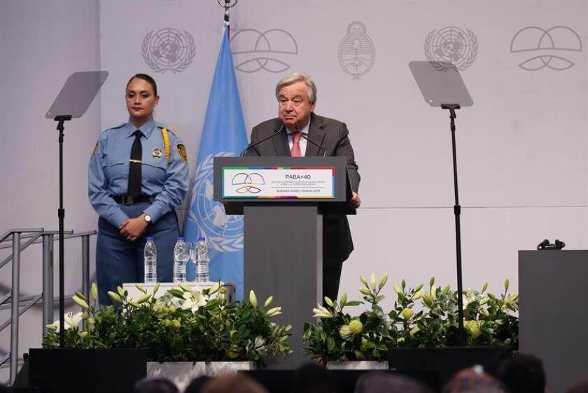 El secretario general de las Naciones Unidas, Antonio Guterres, participa el miércoles 2' de marzo de 2019, en la segunda conferencia de Ato Nivel de la ONU sobre cooperación en Buenos Aires. EFE/Archivo