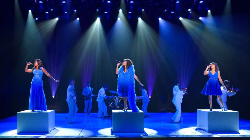 """LaChanze as """"Diva Donna,"""" left, Ariana DeBose as """"Disco Donna"""" and Storm Lever as """"Duckling Donna"""" in La Jolla Playhouse's disappointing premiere of """"Summer: The Donna Summer Musical."""""""
