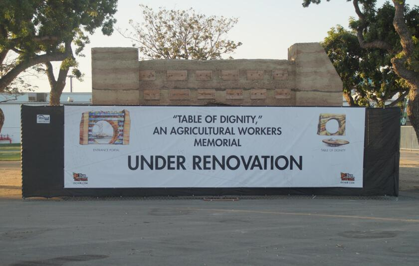 "The renovation of the ""Table of Dignity"" agricultural workers memorial at the OC Fair & Event Center is expected to be completed by the end of May. The original version, seen here in 2016, had to be redone because of structural issues."