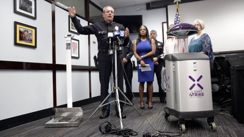 LOS ANGELES, CALIF. - JUNE 28, 2019: LAPD Chief Michel Moore held a news conference to announce depl