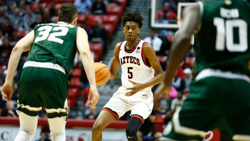 SDSU forward Jalen McDaniels looks to pass in the first half against Colorado State.