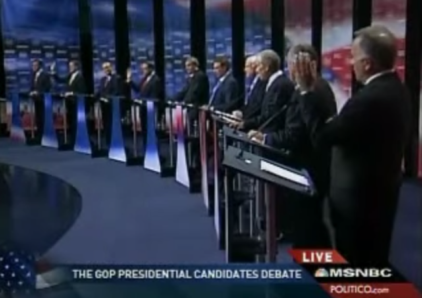 GOP reaches a nadir in 2007, when three presidential candidates raised their hands to signify their doubts on evolution.