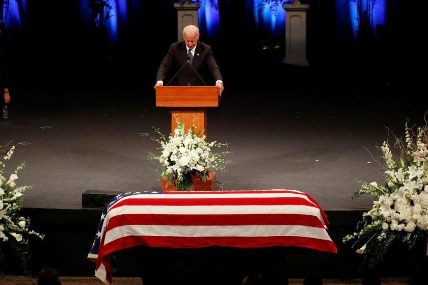 Former Vice President Joe Biden gives a tribute during memorial service at North Phoenix Baptist Church for friend Sen. John McCain (R-Ariz.).
