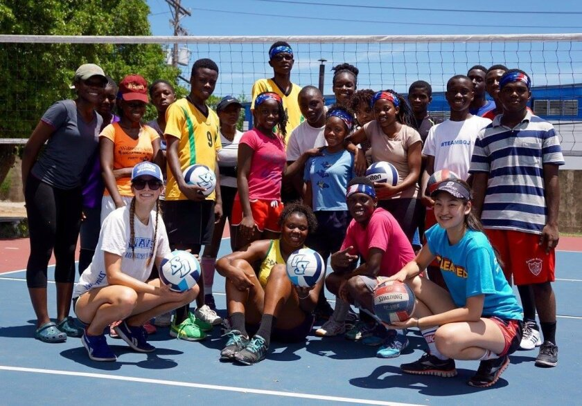 ​Ellie Auerbach (lower left) with Jamaican athletes​.