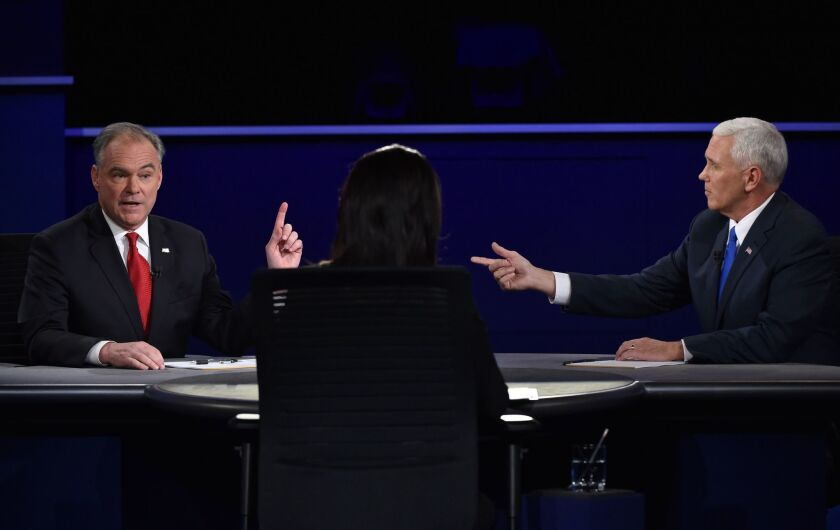 Democratic vice presidential candidate Tim Kaine and Republican vice presidential candidate Mike Pence during the debate.
