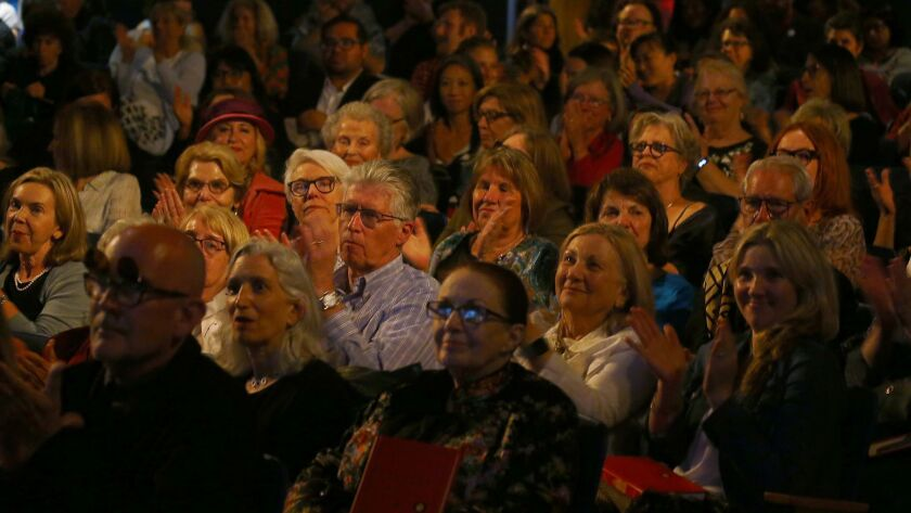 LOS ANGELES, CALIF. - JUNE 25, 2019. Participants applaud the intrduction of author Susan Orlean, th