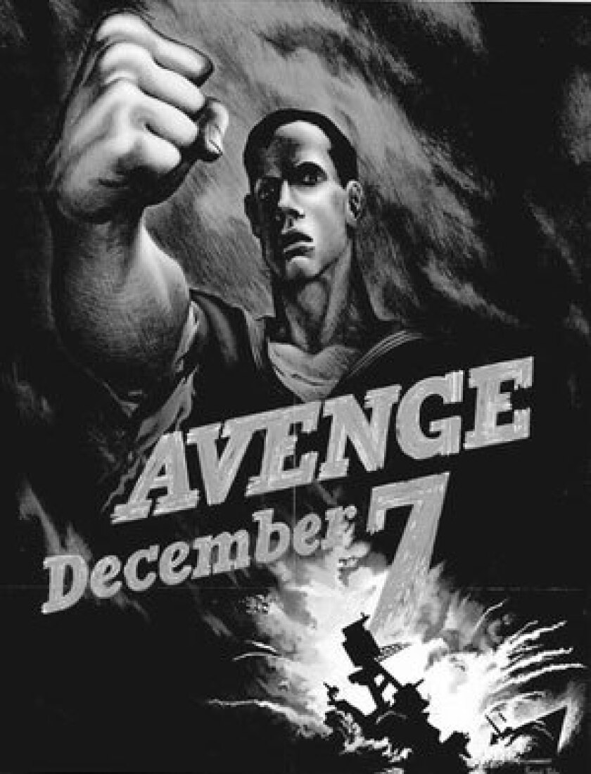 """Poster from 1940s rallying Americans to """"Remember Pearl Harbor"""" Dec. 7, 1941, as """"a day of infamy."""""""