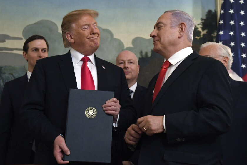 President Trump with Israeli Prime Minister Benjamin Netanyahu, right, at the White House on March 25, 2019.