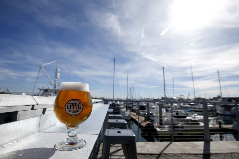 Eppig Waterfront Biergarten sits atop the water in Point Loma.