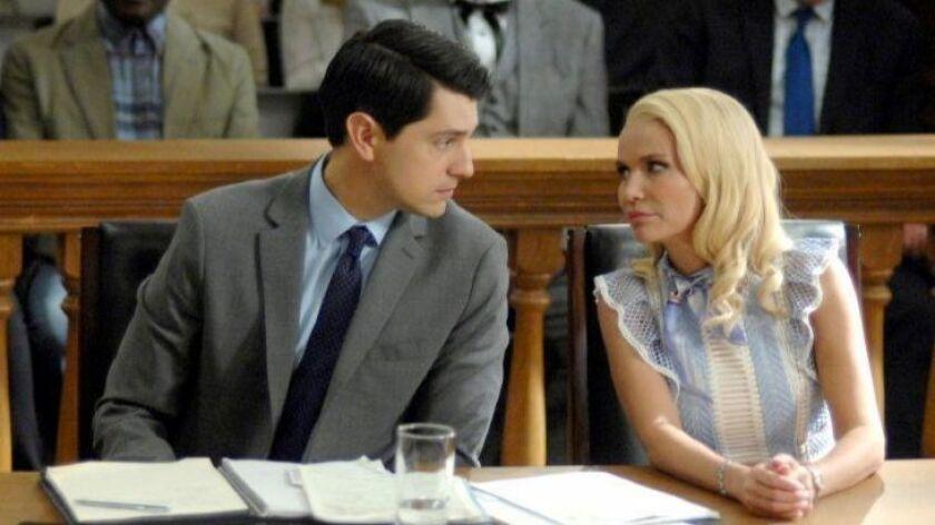 """Nicholas D'Agosto and Kristin Chenoweth in """"Trial & Error"""" on NBC."""