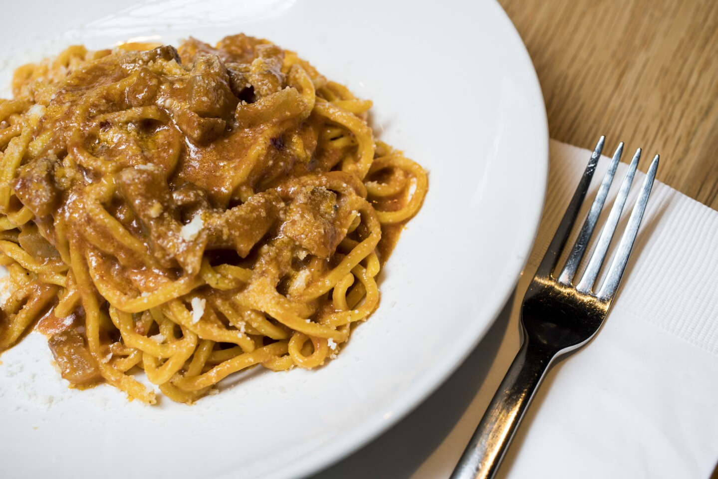 The tonnarelli all'Amatriciana at Uovo may just be the best dish of its kind in town.